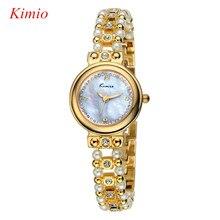 KIMIO марка смотреть женщины Полный нержавеющей стали золотые часы женщины водонепроницаемые часы Моды перл группа Розовое золото Браслет наручные часы