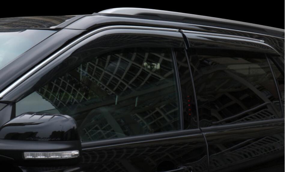 JINGHANG 4 pièces Chrome Fenêtre Visière Déflecteur Bouclier de Pluie de Soleil Pour 13-18 Ford explorer 2013 2014 2015 2016 2017 2018