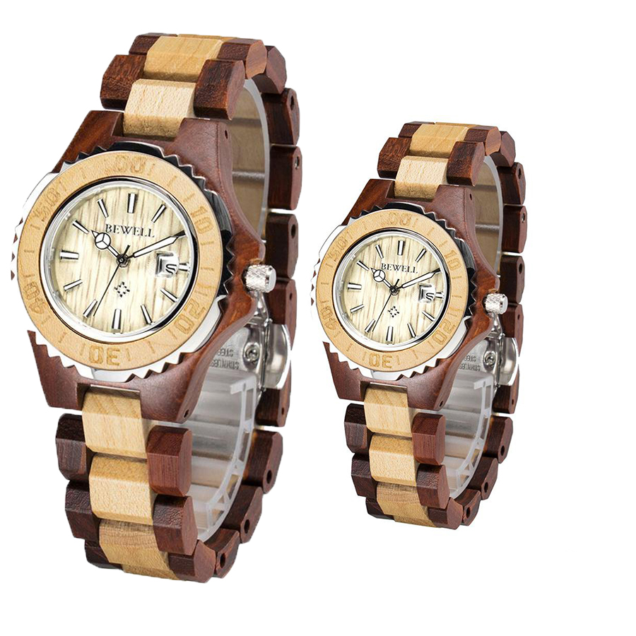 BEWELL Casual Watch Couple Wood Quartz Business Waterproof Women Luxury Brand with Box