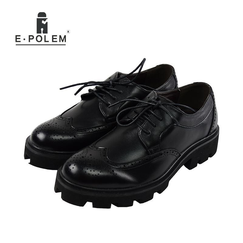 2016 New Fashion Men Casual Lace Up Round Toe Male Casual Shoes Genuine Leather Men England