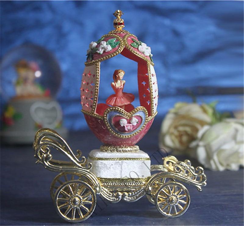 Royal coeur perle rose fleur boîte à musique danse ballerine coquille d'oeuf boîte à musique de luxe boîte à musique cadeau de mariage pour fille amie