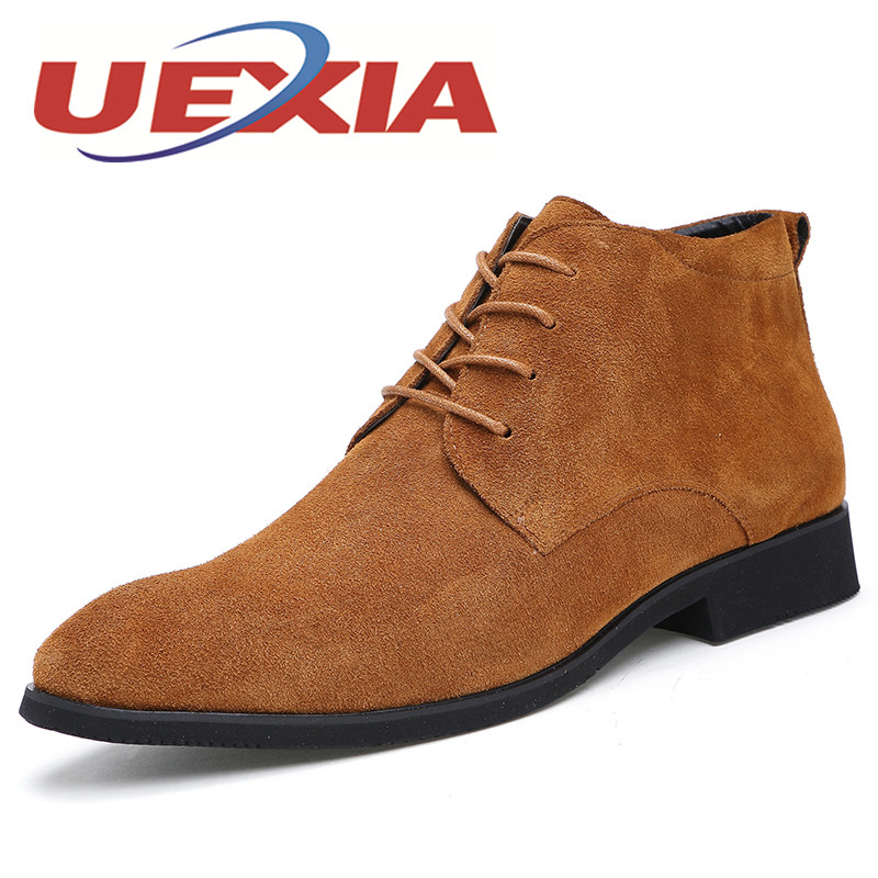 New Men Casual Suede Leather Ankle Boots Winter Warm Shoes With Fur Outdoor Leisure Comfortable Plush Boots Flats Bottes Hommes  plush casual suede shoes boots mens flat with winter comfortable warm men travel shoes patchwork male zapatos hombre sg083