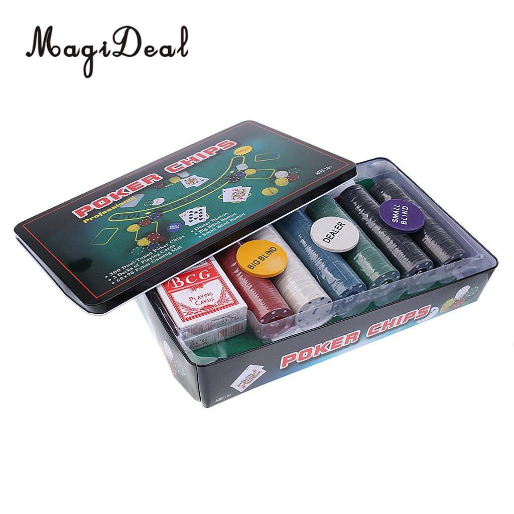 MagiDeal Professional 300Pcs Plastic Poker Chips Set With Metal Box for Texas Hold'em Poker Card Funny Adult Party Game Supplies