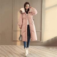 Women Jacket 2018 Fashion Winter Down Cotton Coats Women Hooded fur collar parka Thicken Long Ladie parkas Winter Outerwear X647