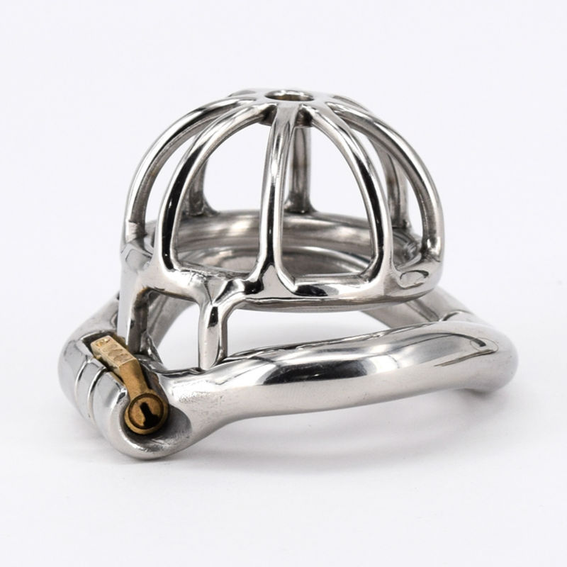 ФОТО Super Small Male Chastity Cage Real Stainless Steel Chastity Belt Penis Lock with 4 size Arc Base Activities Lock Ring