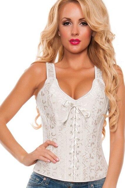 White Bridal Corset Lace Up Boning Bustier Women Shoulder Strap Top Plus Size Corselet