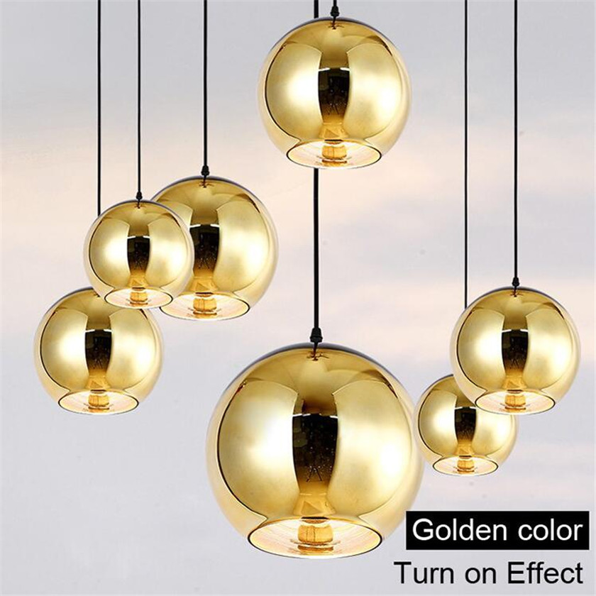110V 220V Glass plated ball Led chandelier Lights Round Gold Color Glass Ball Cord lustres hanging Lighting Fixtures lampadario glass ball