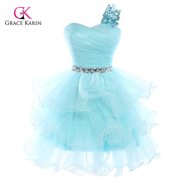 aae7d35537 Sexy Short Puffy Prom Dresses 2017 Grace Karin One-shoulder Blue Pink  Organza Tutu Crystal Homecoming Ball Gown Party Dress