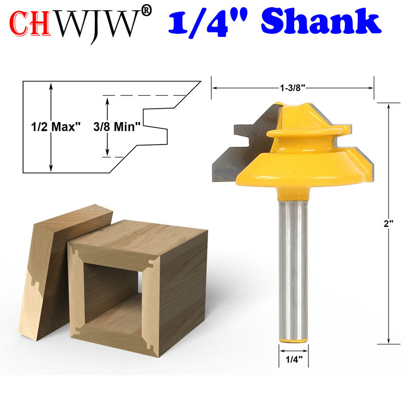 1//4-inch Shank 3//8-inch Cutting Length Ball Bearing 45 Degree Chamfer Router Bit
