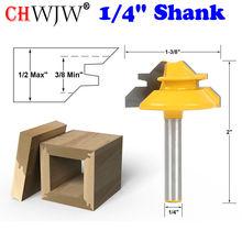 1PC 1/4 Inch Shank Small Lock Miter Router Bit Anti-kickback 45 Degree 1/2 Inch Stock Tenon Cutter for Woodworking Tools new 1pc 1 4 shank lock miter router bit 45 degree woodworking cutter 1 1 2 diameter for capenter tools