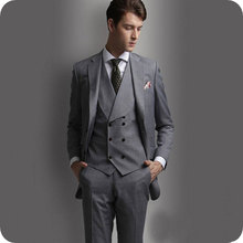 Retro Gray Men Suits Gentleman Wedding Groom Custom Tuxedos Best Man Blazer Prom Slim Fit Formal 2pieces Terno Masculino