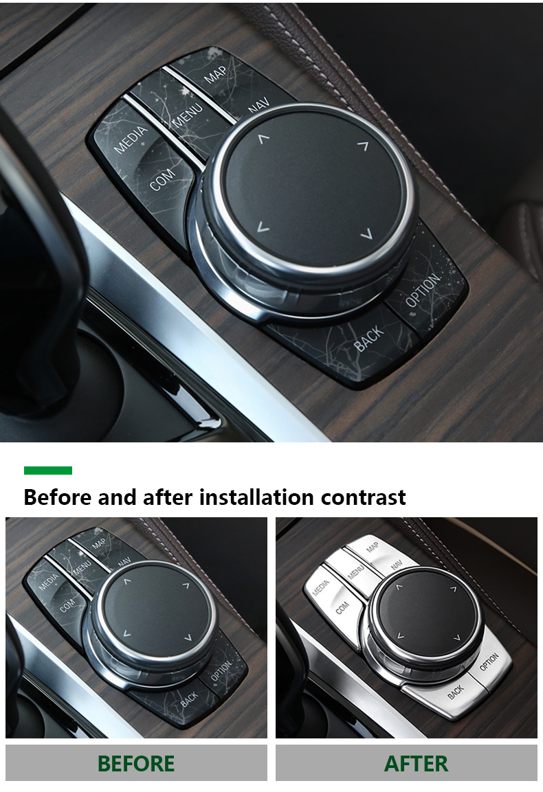 Airspeed for BMW 5 Series G30 528i 530i 540i Accessories Car Multimedia Buttons Cover ABS Interior Decoration Car Styling (8)