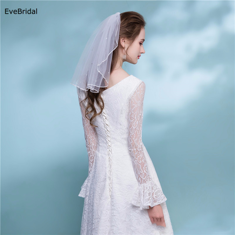 Купить с кэшбэком 1 Layer white Ivory Crystals Shoulder Length Satin Ribbon Edge Wedding Bridal Veil with Comb