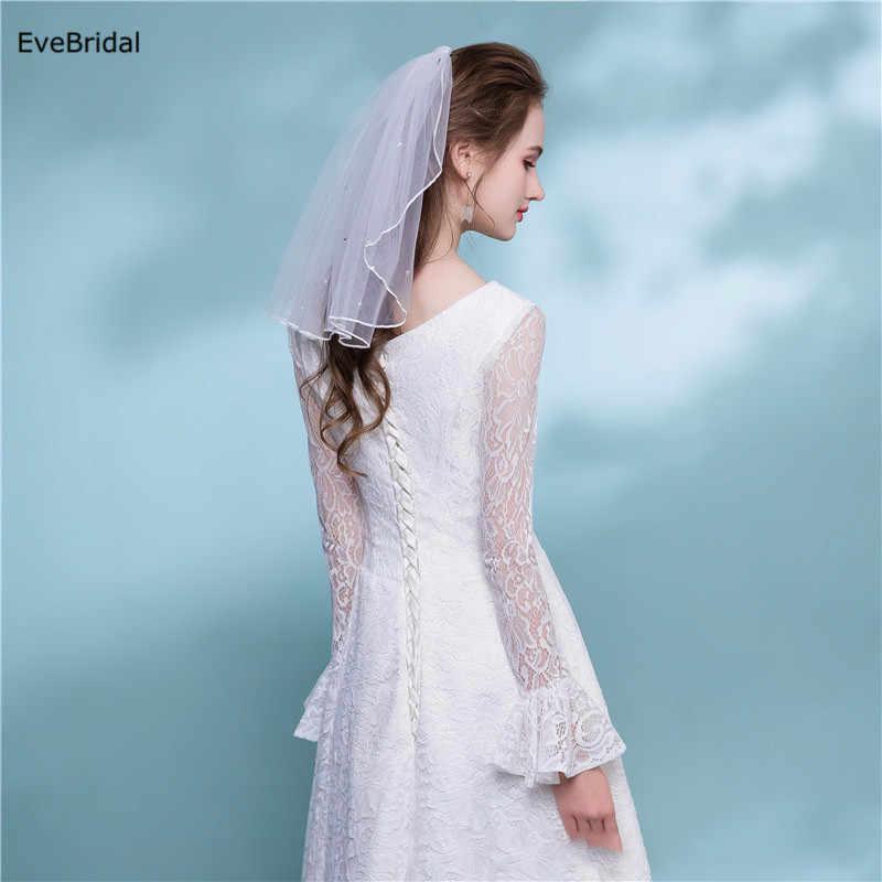 1 schicht weiß Elfenbein Kristalle Schulter Länge Satin Band-Rand Hochzeit Braut Schleier mit Kamm