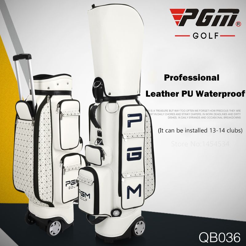 Brand PGM Genuine Golf Bag Standard Package Pulley Professional Leather PU Waterproof Golf Cart Club Bag Women and Men Bag Cover pgm genuine golf standard durable bag waterproof lady golf capacity standard ball bag embroidered package contain full set club
