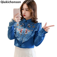 Embroidery Blouse Long Sleeve 2018 Spring Autumn Vintage Womens Tops And Blouses Peter Pan Collar Ruffle