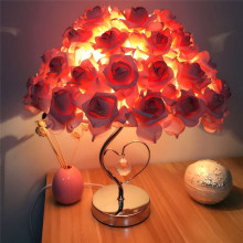 Rose Table Desk Lamp Flower Shade Light Home Commercial Decoration Pink wedding lights  Pretty and romantic