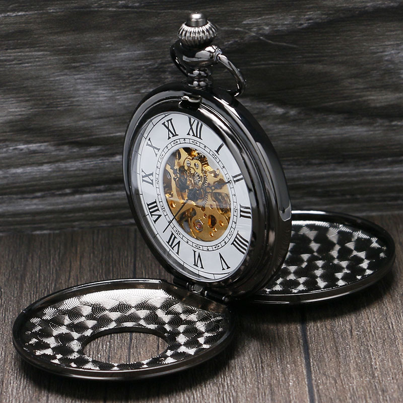 Retro Fashion Black Double Full Hunter Design Roman Number Skeleton Dial Mechanical Fob Pocket Watch Gift For Men Women