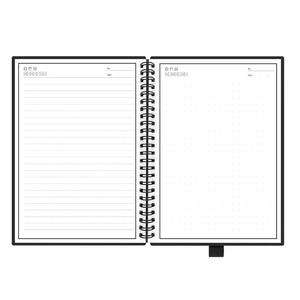 Image 2 - NEWYES Zwart Milieu A5 Wirebound Notebook Uitwisbare Smart Notebook Papier Herbruikbare voor Schrijven met doek en uitwisbare pen