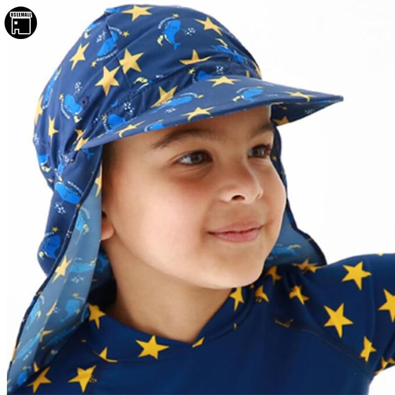 USEEMALL New Ear Protection Swimming Cap Baby Kids Boys Girls Ultraviolet-proof Sunhat Cartoon Beach Hat Sun Hat Hot Sale