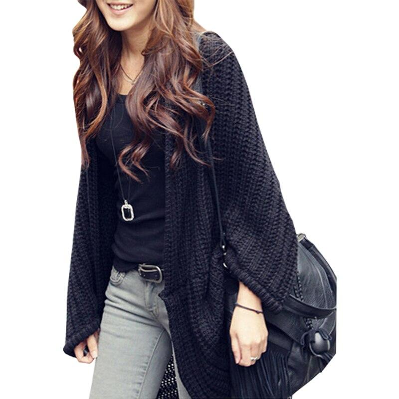 Shawl New Korean Cardigan Women Irregular Bat Shirt Poncho Loose Jumper Big Yards Long Korean Sweater Coat Vestidos LXJ259