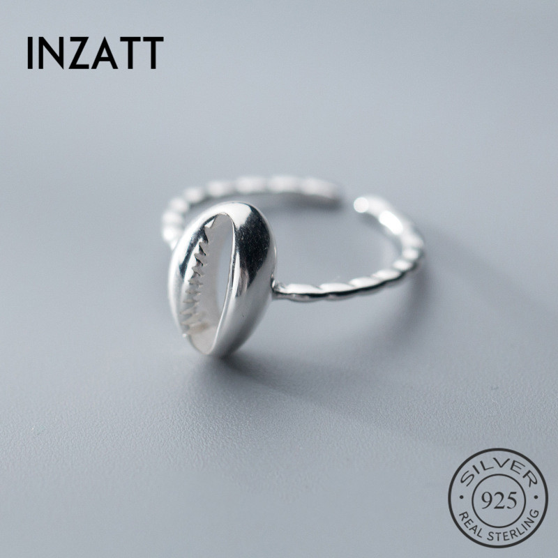 INZATT Real 925 Sterling Silver Hollow Shell Adjustable Ring For Pretty Women Interesting Party Fine Jewelry Fashion 2019 Gift