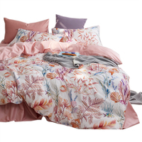 Egyptian Long staple cotton Digital printing bedding set 4pcs pink sheet twin full queen single double king size free shipping