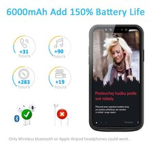 For iPhone X Battery Case 6000mAh Rechargeable External Battery Portable Power Charger Protective Charging Case for  iPhone X