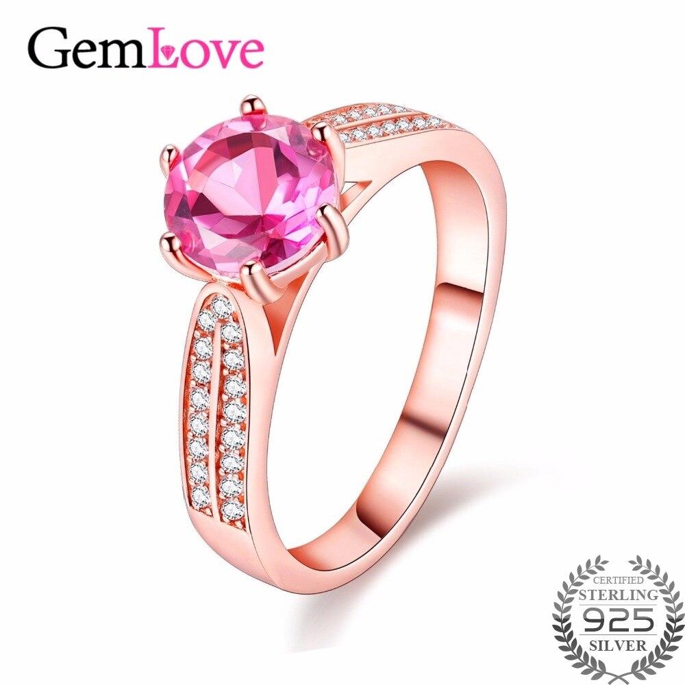 Gemlove Silver 925 Gemstone 2 CARAT Topaz Female Wedding Rings Pink ...