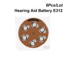 Zink lucht Knoopcel 312 1.4V Bruin Tab Gehoorapparaat Batterij Power E312 Vervangt 312A A312 AC312 DA312 p312 PR312 PR41 ZA312