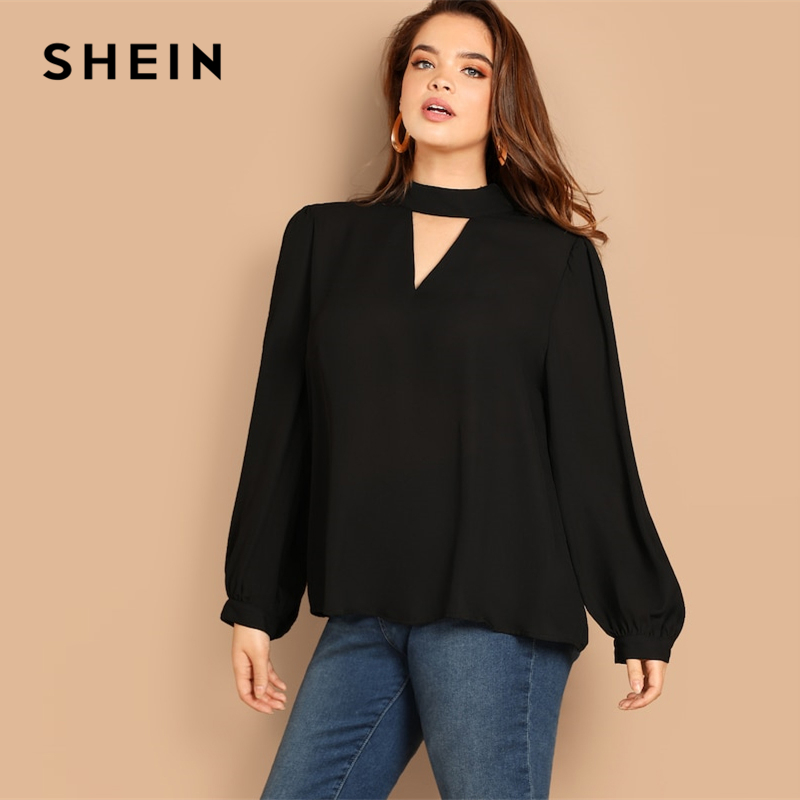 SHEIN Plus Size Keyhole Mock-neck Long Lantern Sleeve Stand Collar Cut Out Women Blouse 2019 Spring Casual Solid Top Blouses