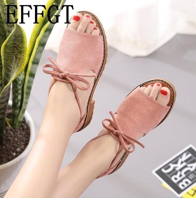 EFFGT новые сандалии 2018 Для женщин летние босоножки Винтаж бантом римские сандалии-гладиаторы женская обувь низкая Сандалии на каблуке H421