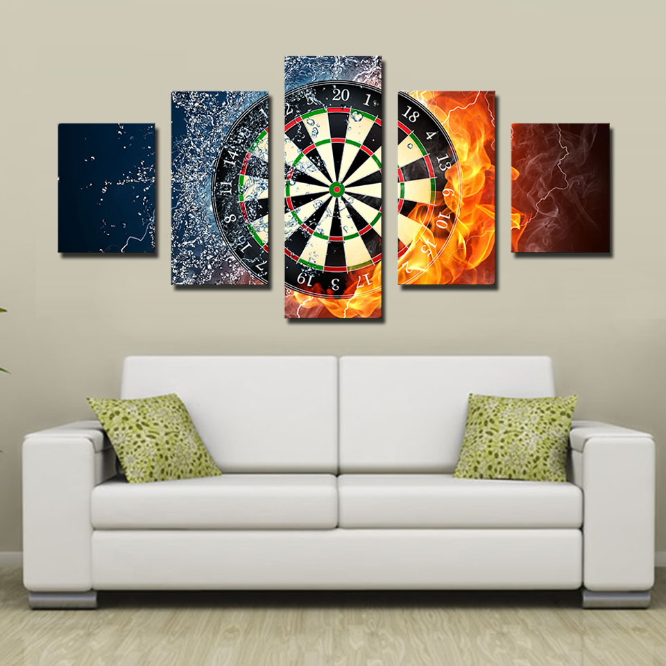 2017 Real Fallout 5 Piece Darts Wheel Target Fire Water Home Wall Decor Picture Print Canvas Painting Set Each Unframed