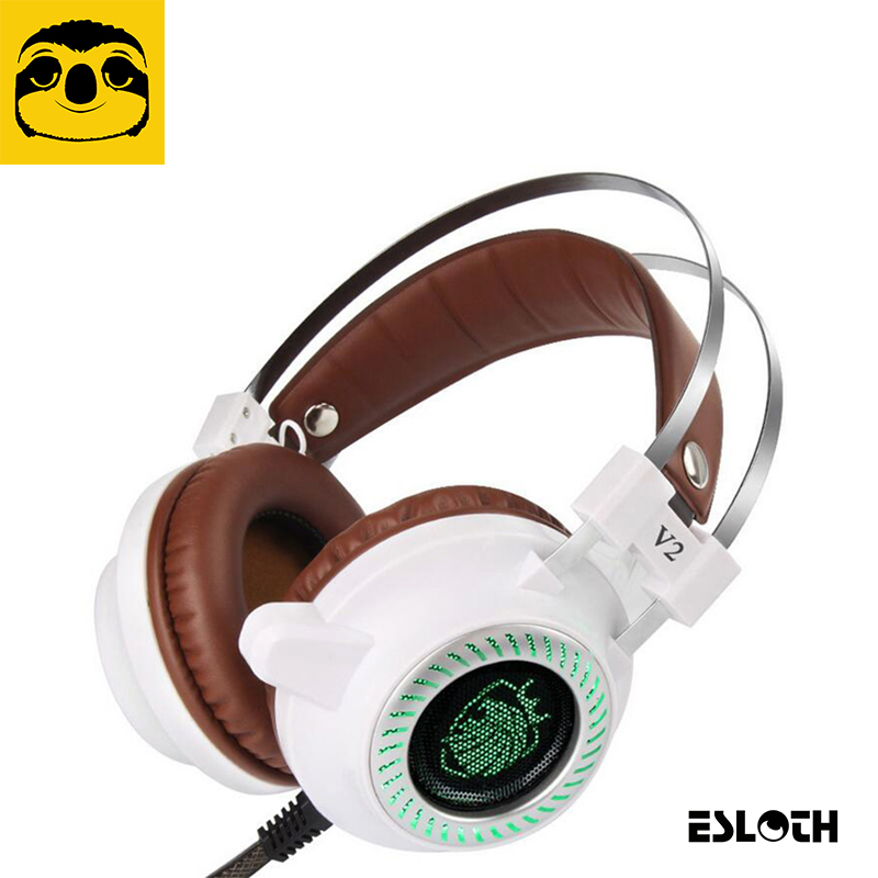 Laptop Peripherals V2 Pro Game Gaming Speakers Headset 3.5mm LED Stereo PC Headphone Speakers Microphone Stereo Bass LED Light