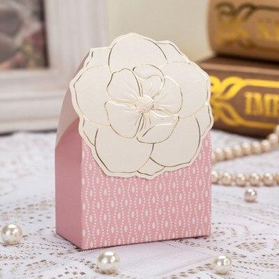 50psc ślub pudełko cukierków Słodki kreatywny ślub torby papierowe różowe pudełka z pamiątkami prezent torba dekoracji sprzyja ślub i prezenty