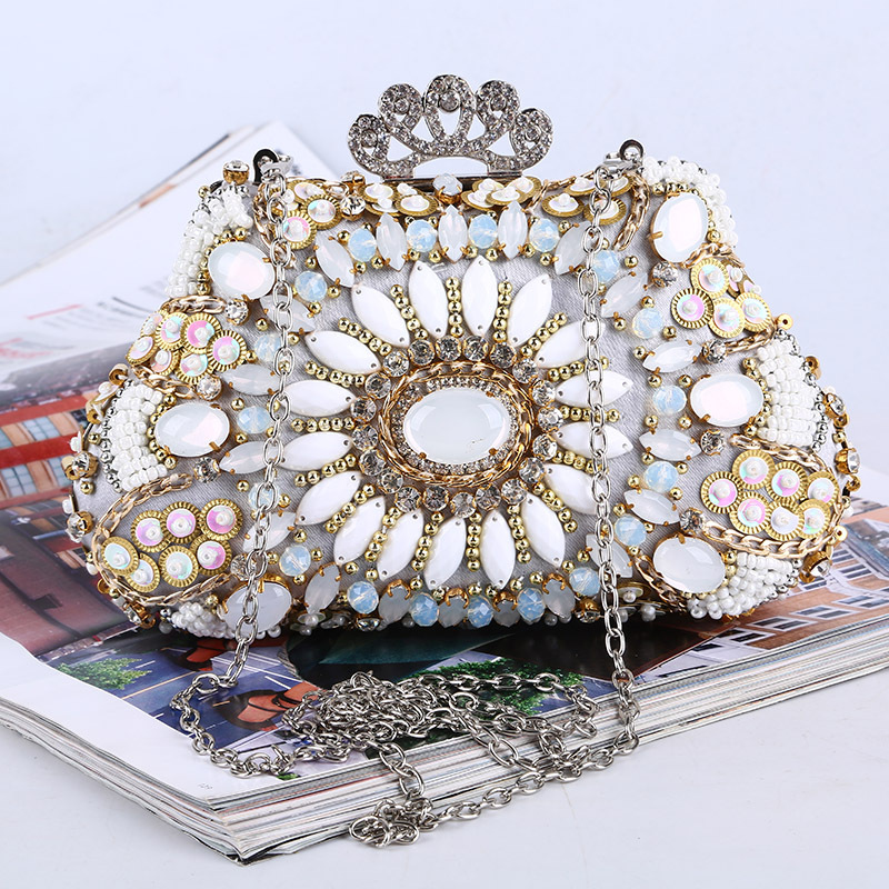 Marca de lujo del diamante bolsos de embrague mujeres cheongsam abalorios de cri