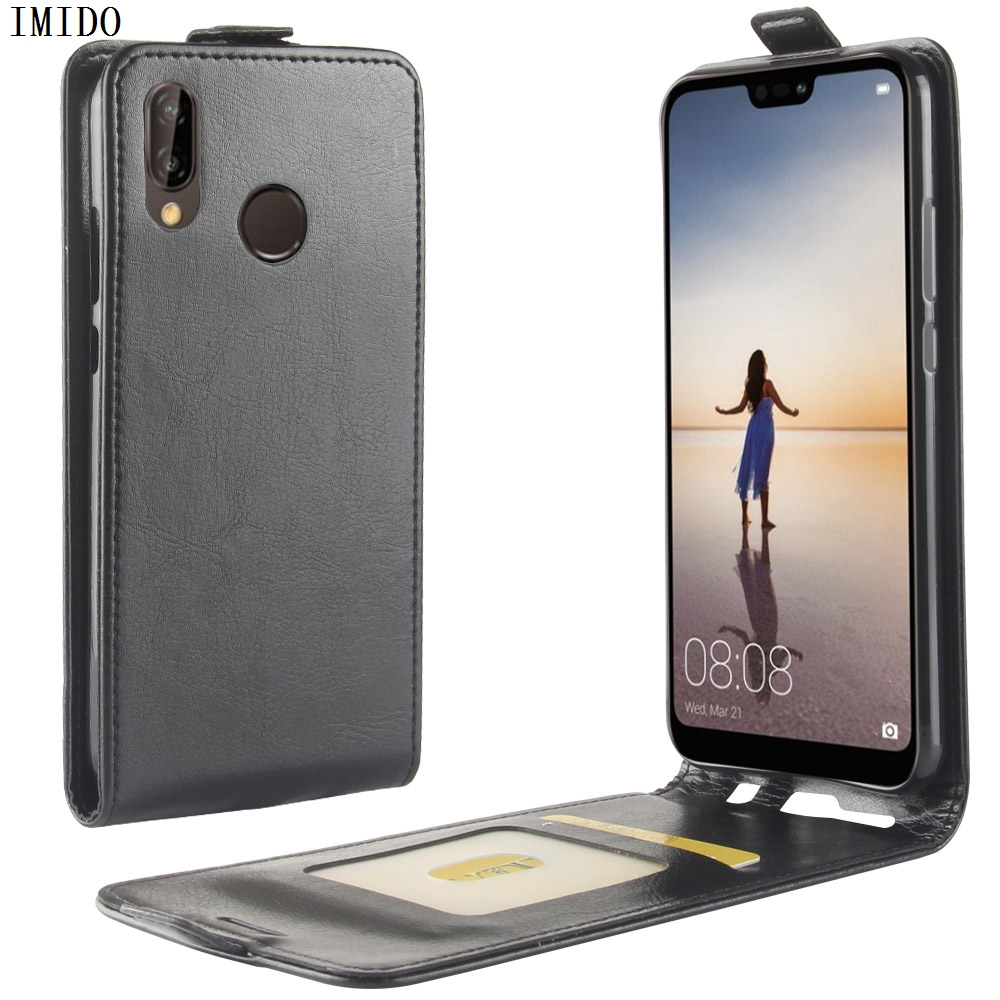 IMIDO PU Leather Flip back phone case For Huawei P20 Lite P20Lite ANE LX1 With Card Holder