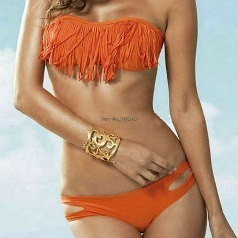<font><b>2018</b></font> <font><b>New</b></font> <font><b>Sexy</b></font> Strapless Bandeau Swimsuit <font><b>Women</b></font> <font><b>Bikini</b></font> Tassel Triangle <font><b>Swimwears</b></font> <font><b>Push</b></font> Up <font><b>Swimwear</b></font> Set Tankini bathing suit image