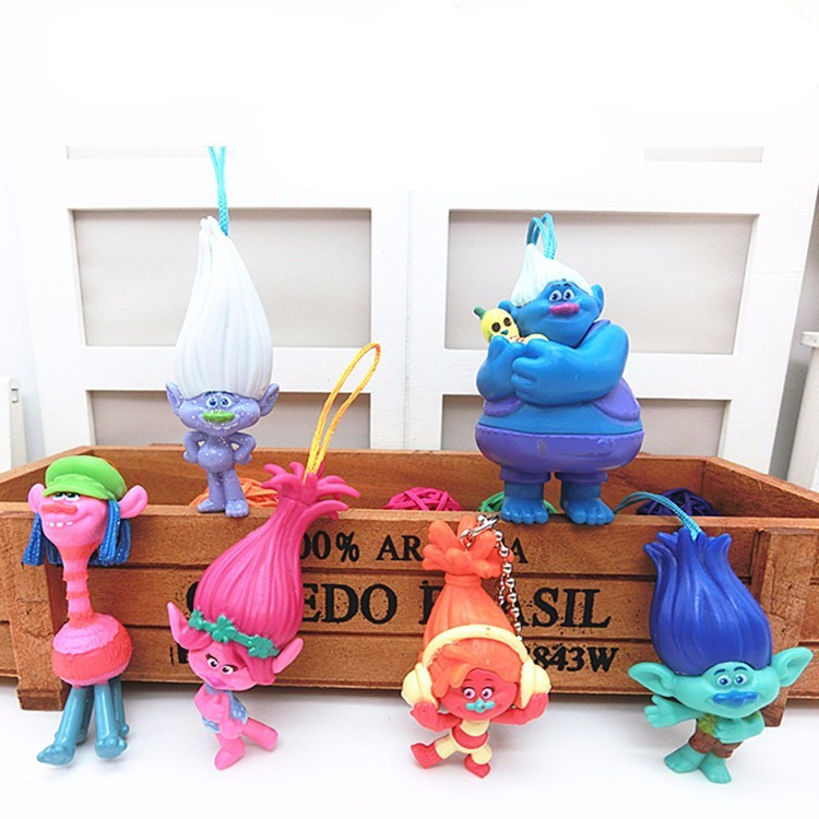 6pcs/set Dreamworks Movie Trolls Poppy DJ Suki Guy Diamond Cooper Branch Critter Skitter Boards PVC Action Figures Toys