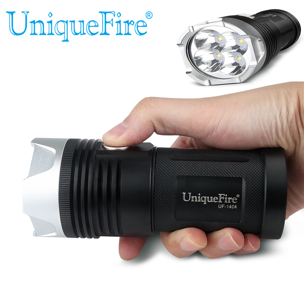 Uniqurfire 3 Modes 1404 Popular 4 Led Cree XP-L Led Handheld Led Flashlight 4000LM Black Torch 4*18650 Rechargeable Battery uniquefire uf 1404 4 cree xp l led high power flashlight 3 modes 4000 lumen 4 xp l led torch for camping hiking