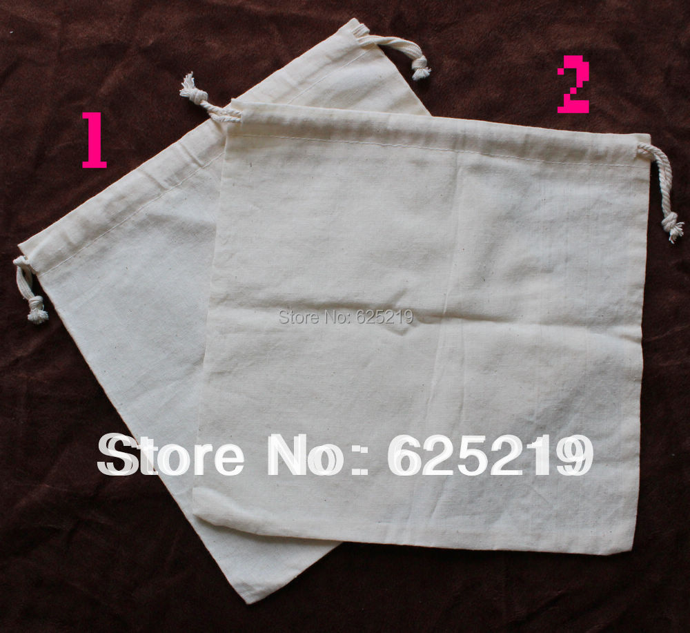 140g m2 cotton 50pcs lot 25 25cm 10 10 inch organic natural drawstring cotton bag can