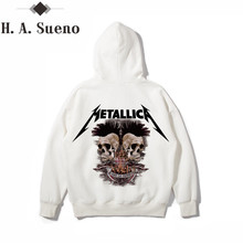 Фотография H.A. Sueno Mens Hoodies And Sweatshirts White Hoodie Men Metallica Hoodie Men Printed Hip Hop Hoody Men Long Sleeves streetwear