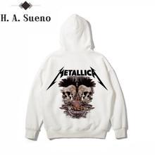 ФОТО h.a. sueno mens hoodies and sweatshirts white hoodie men metallica hoodie men printed hip hop hoody men long sleeves streetwear