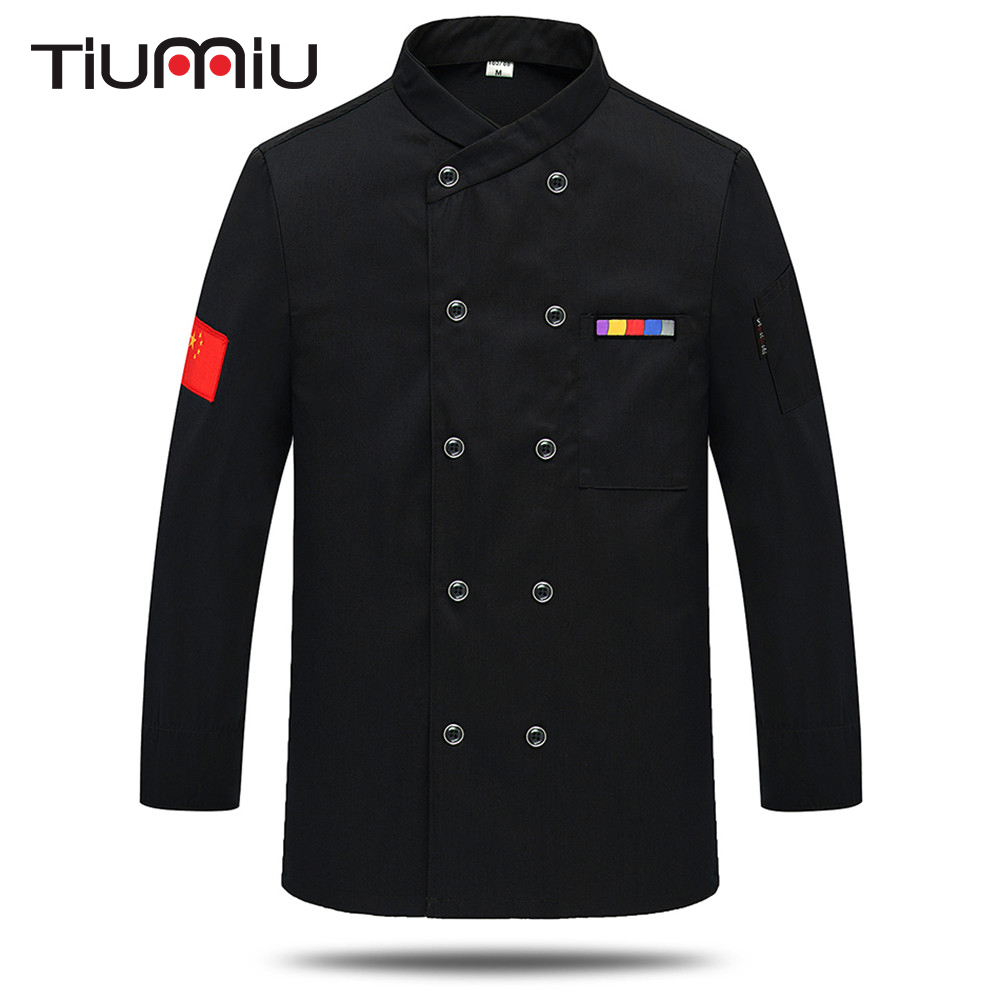 7 Colors M-3XL Unisex Chinese Restaurant Chef Work Uniforms Bakery Kitchen Work Wear Clothes Long Sleeve Breathable Cook Jackets
