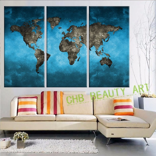 3 panels vintage world map canvas painting wall pictures for living 3 panels vintage world map canvas painting wall pictures for living room morden painting art canvas gumiabroncs Images