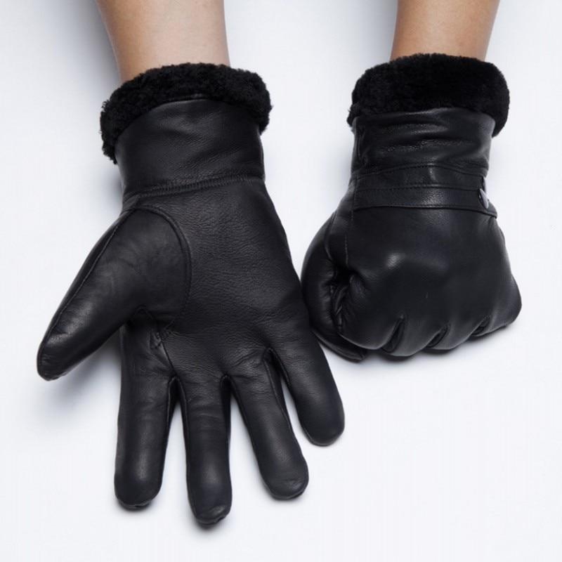 Luxe Véritable Cowskin En Cuir Gants Homme Femme Réel Moutons De Fourrure Chaud gants de conduite D'hiver Petit Ami Mitaines En Italie Gants