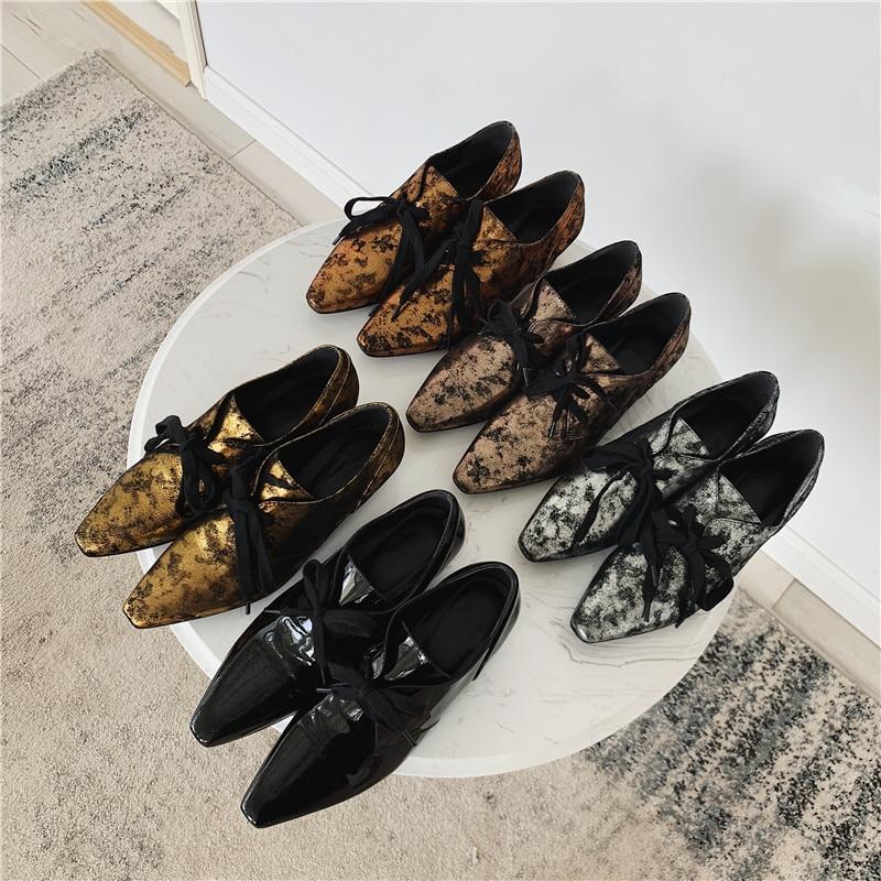 Talon Pour Métal Femme Cuir Black Verni Femmes En Bout Chaussures Style silver Croix attaché De Mode Carré yellow Décontractées iron gold Preppy wZXz7qFw