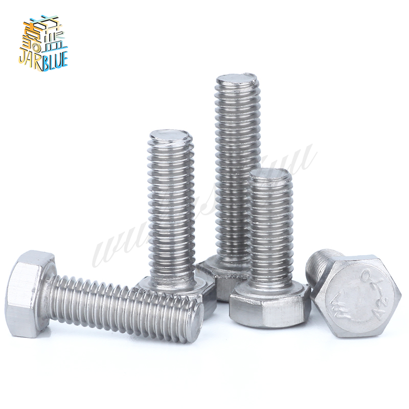 DIN933 304 stainless steel full thread fine 0.75/1.0/1.25/1.5 M6 M8 M10 M12 screws External hex 304 bolt din933 12 9 carbon steel screws high strength bolts m6 m8 m10 m12 screws external hex screws 12 9 bolt