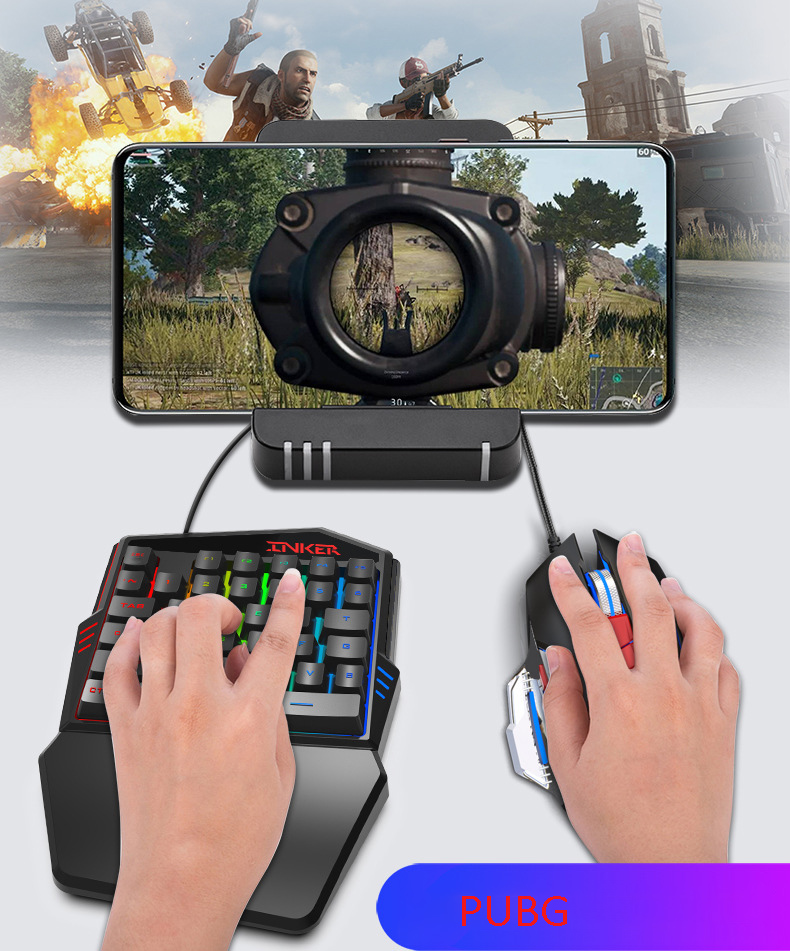 1.6m K99 Wired Gaming Keypad 35 Keys One-handed Keyboard With LED Backlit  Membrane Keyboard For PUBG/LOL/CF