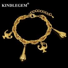 3d0420d4b6dd Kindlegem Großhandel Italien 750 Reines Gold Farbe Charme Einstellbar Armband  Frauen Mode Stulpearmband Schmuck Shell Magie Lamp.
